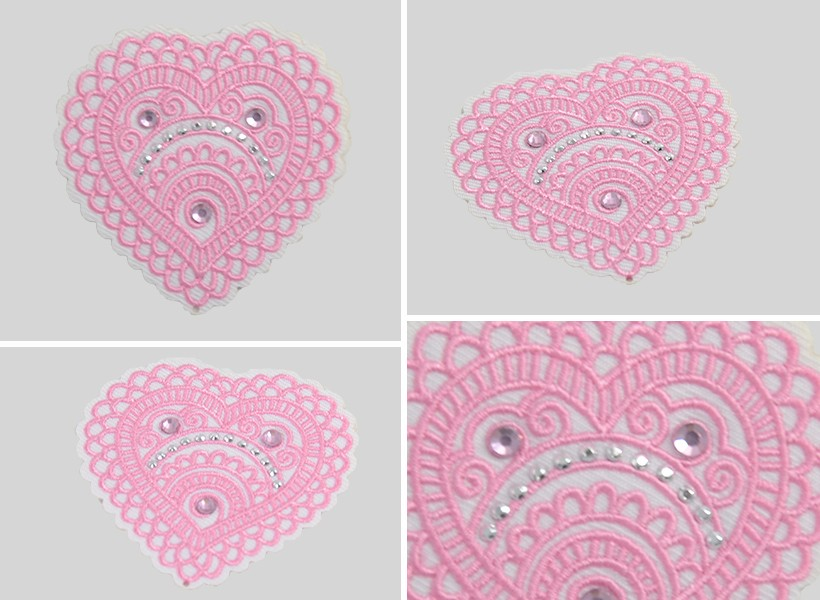iron on heart embroidery patch