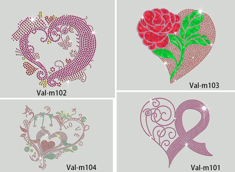 heart rhinestones motif