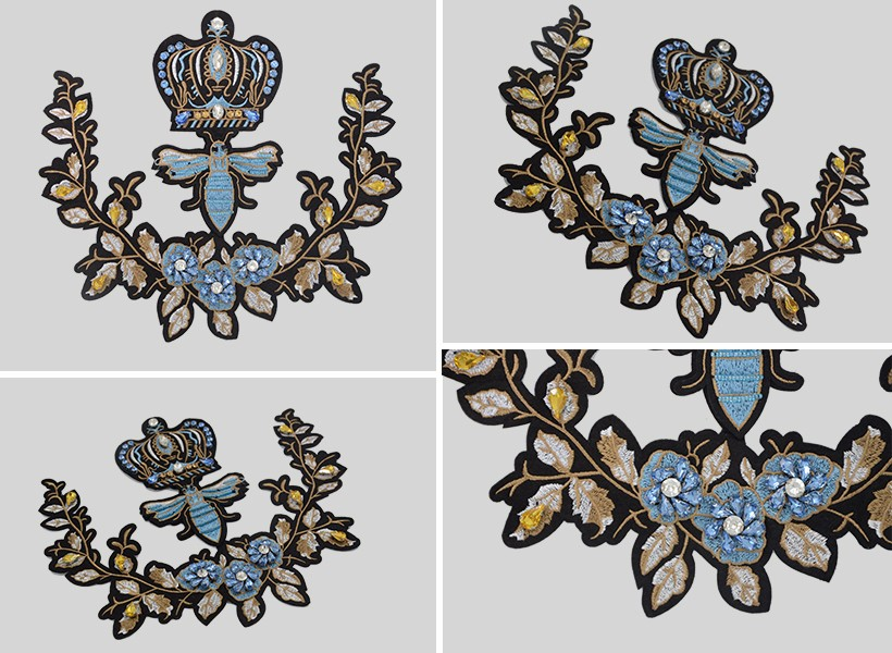 sequin and bead flower applique