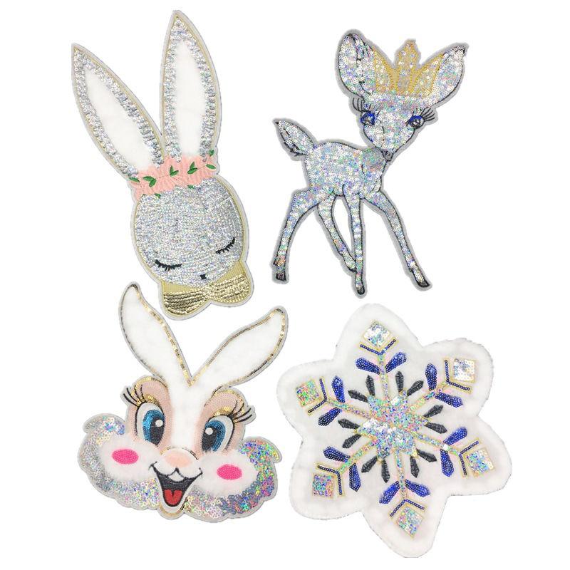 Custom t shirt plush embroidery design snowflake cartoon rabbit deer pattern sequin bead patch for garment
