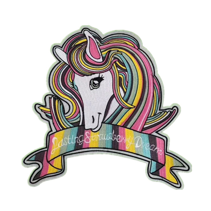 Custom diy cotton coat design rainbow horse pattern flock cloth embroidery iron on patches for children garment