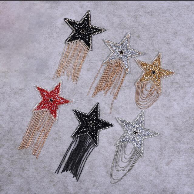 Custom t shirt badge design star pattern design pearl sheet adhesive rhinestone transfer bead patch for clothing