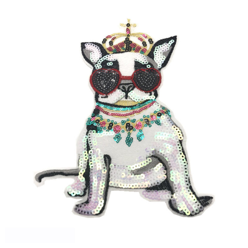 Custom bead patches designs bulldog pattern sequin fabric embroidery on t shirt
