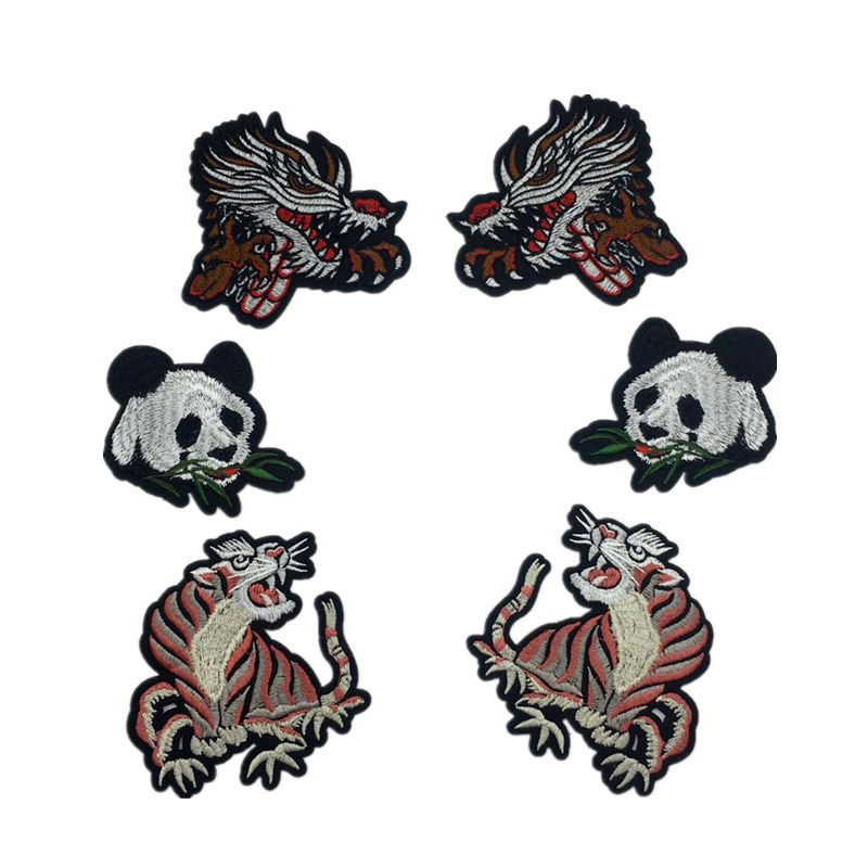Custom diy iron on patches design animal pattern machine embroidery for clothing