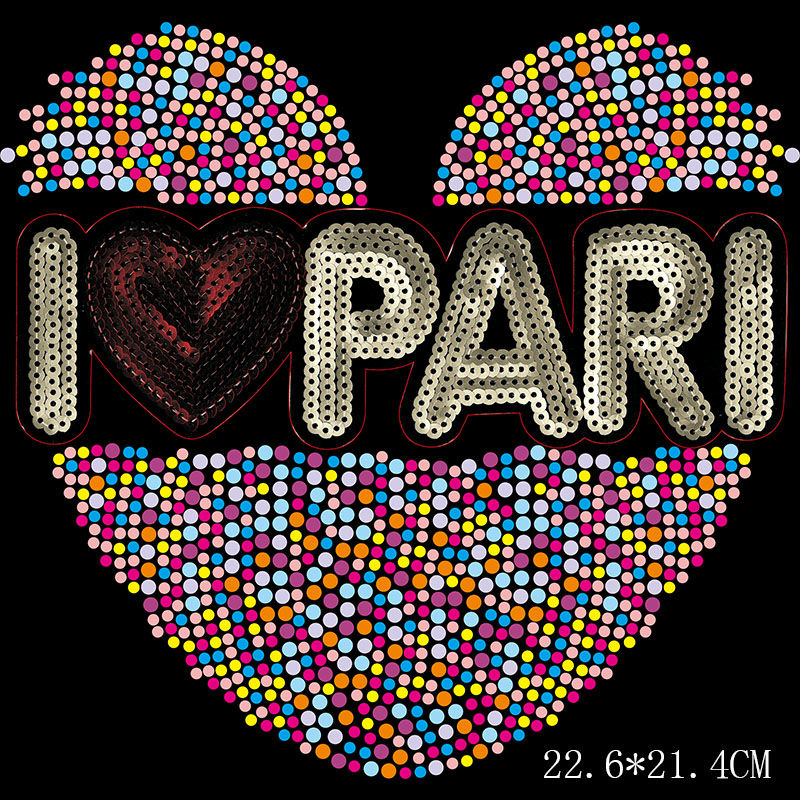 Custom hotfix design sequin letter heart rhinestone transfer on t shirt