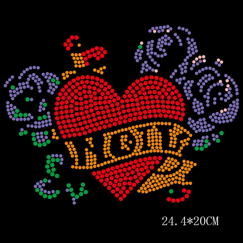 Heart hotfix rhinestone heat transfer templates design for clothes decoration