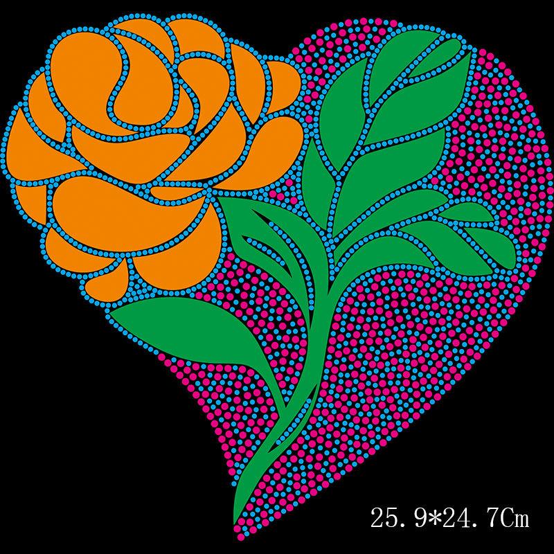 Custom heart flower designs hot fix rhinestone transfers on clothing