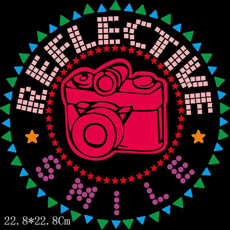 custom wholesale camera design hot fix rhinestone transfer for T-shirt