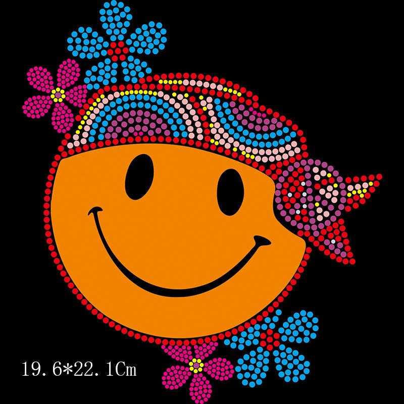 Bling cute emoji design iron on hot fix rhinestone transfer motif appliques