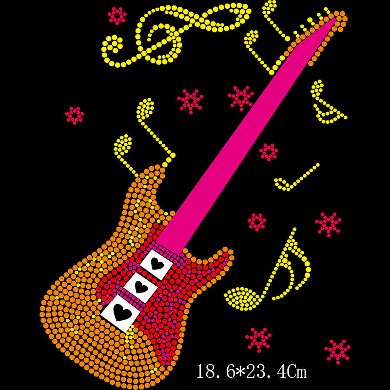 Custom guitar rhinestone transfer for t shirt designs
