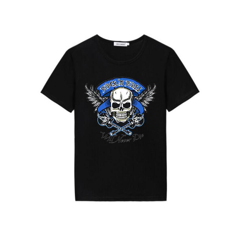 Latest skull new fashion design digital printing Custom men cotton t shirts