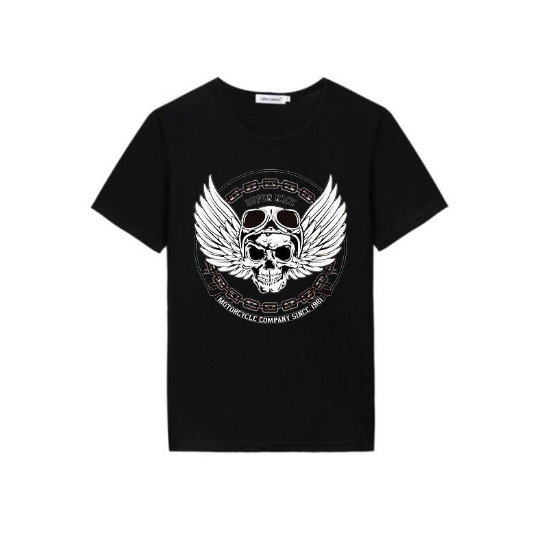 China manufacturing custom skull design vinyl heat transfer printing men's t shirt