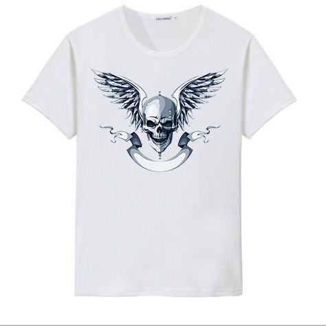 Custom new design skull print  fashion men t-shirt summer short sleeve