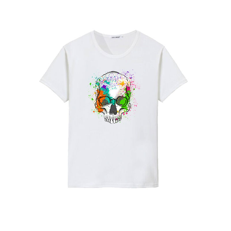 Cheap manufacturer custom t shirt your own design splash-ink skull printing t-shirt