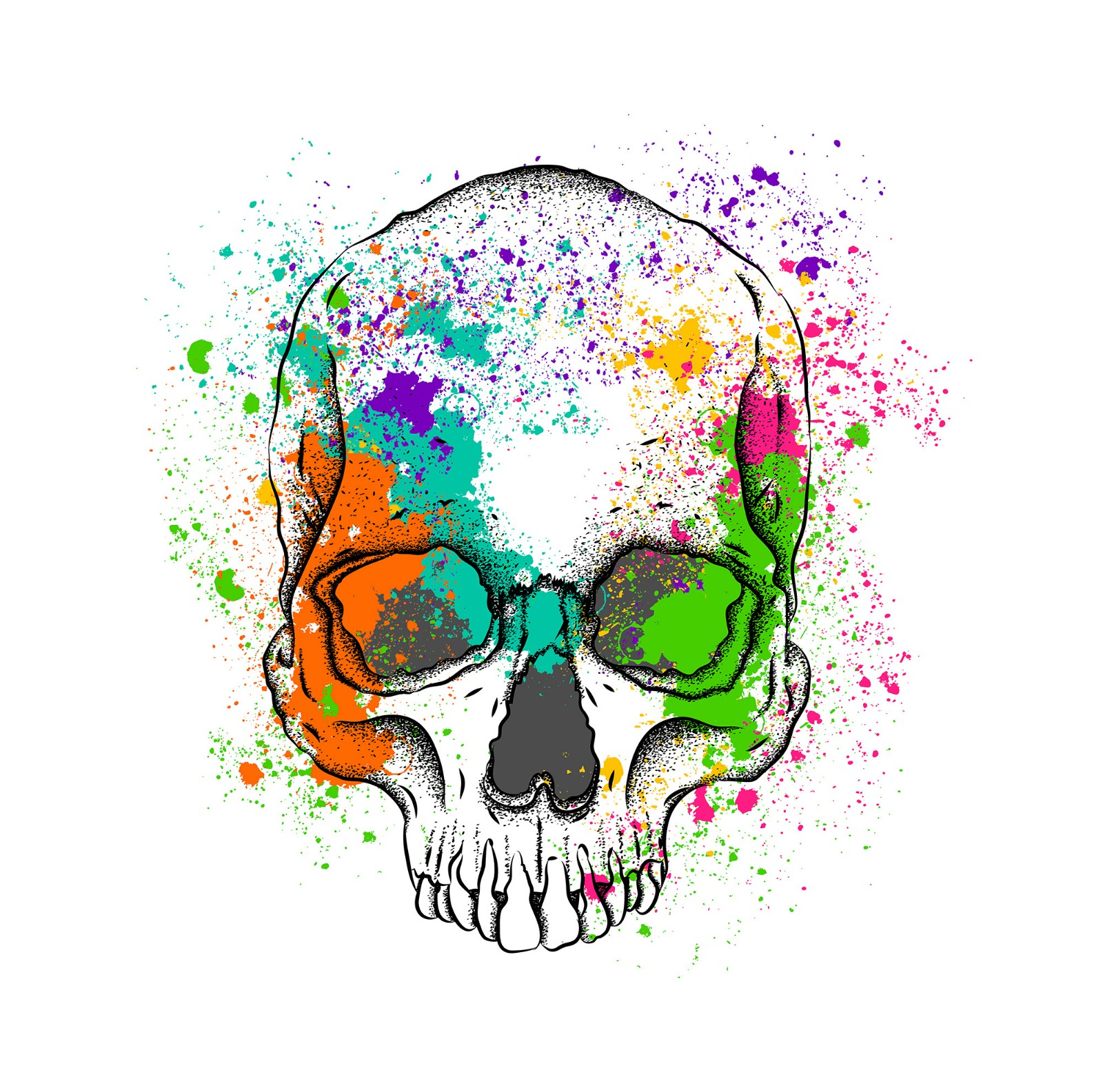 splash-ink skull printing