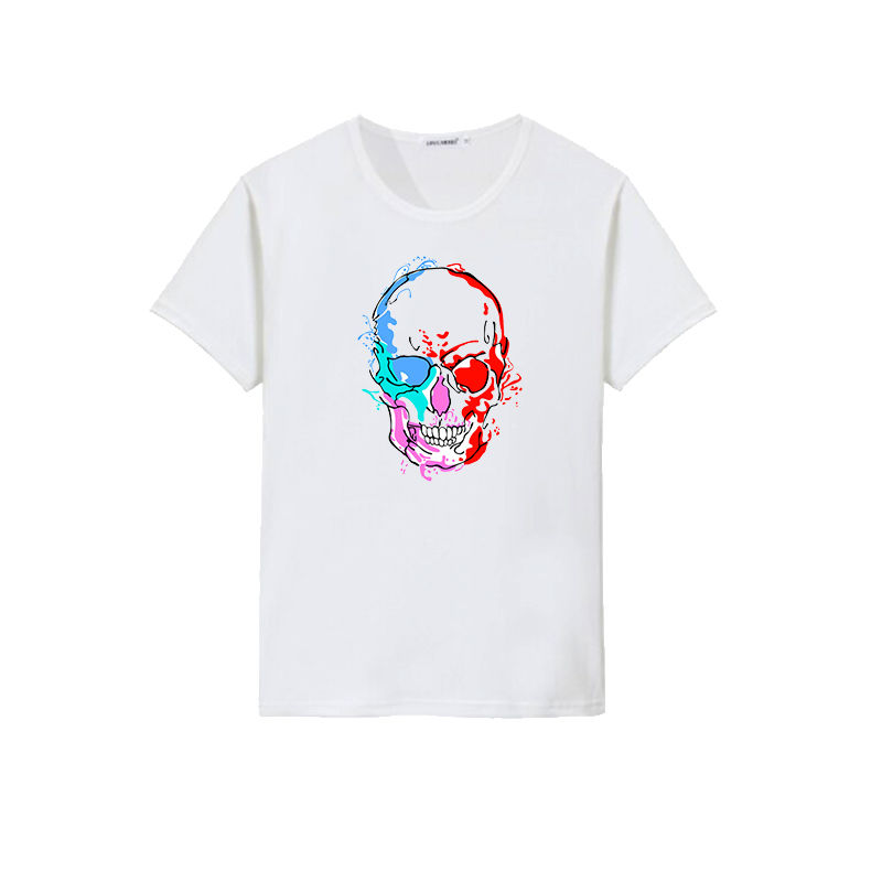 Custom men splashed ink skull design printed sublimation t shirts