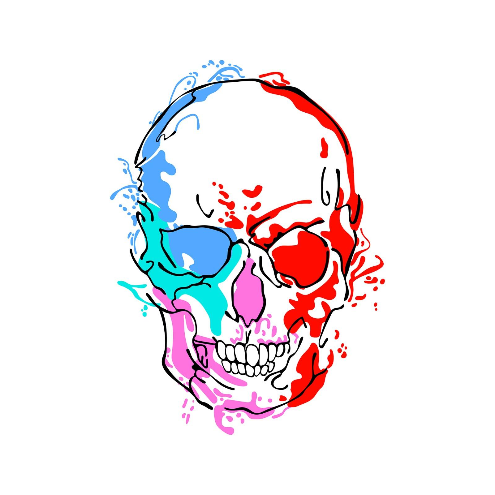 splashed ink skull design
