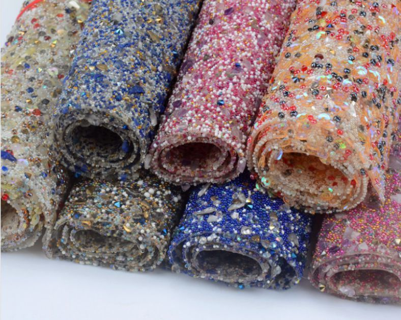 Environmental protection back hot glue rhinestone bead crushed stone mesh sheet for bag shoes