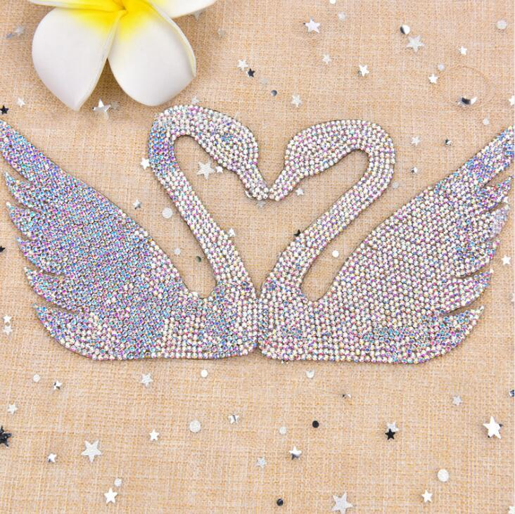Swan design bling crystal adhesive rhinestone back hot melt glue sheets for fabric