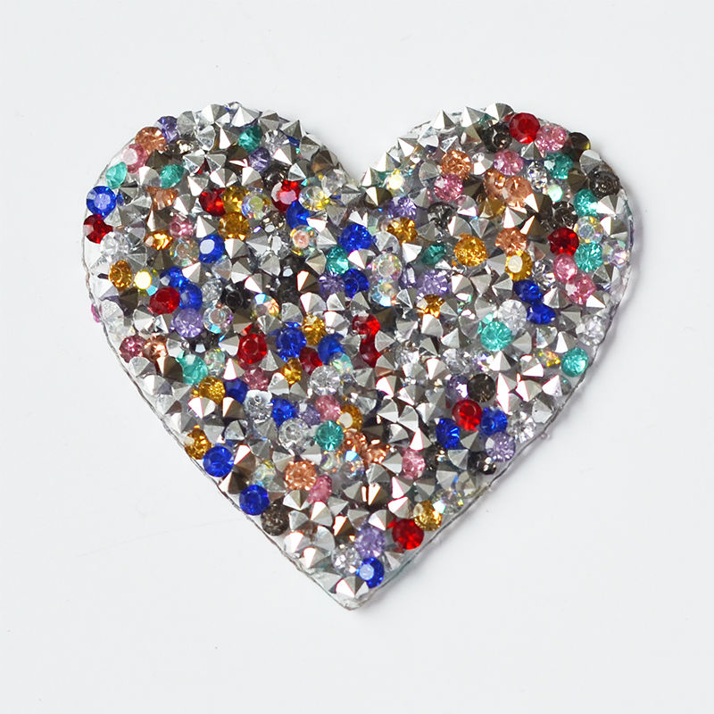 Wholesale heart design hot fix rhinestone back adhesive pointed rhinestone sheet for clothing bag