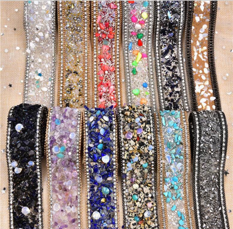 Garment accessories back glue beaded hot fix rhinestone trimming adhesive tape