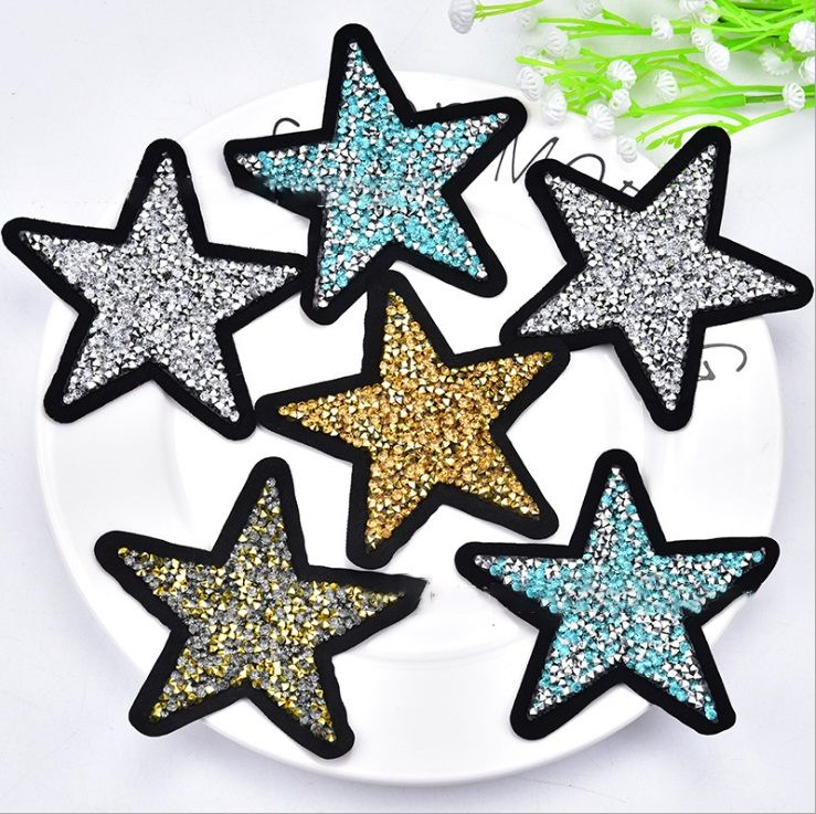 Custom iron on star design back adhesive rhinestone patch appliques