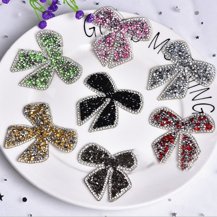 Adhesive crystal handmade bowknot design rhinestone beaded sew on patch for clothing applique