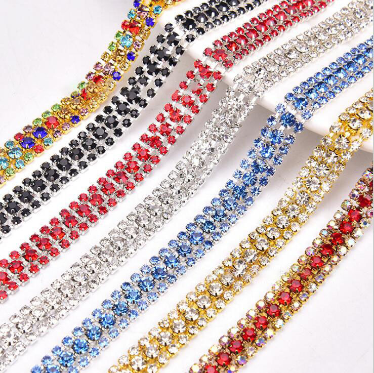 Clear glass rhinestone chain tape sewing trimming crystal ribbon applique strass banding for clothes dress crafts