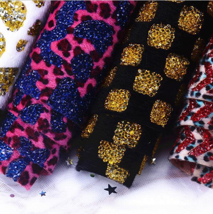 Wholesale back plush cloth  adhesive hot fix rhinestone sheet for garments