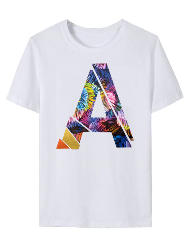 Custom clothing letter A designs printing texture pattern vinyl heat transfer printing and sublimation t-shirts
