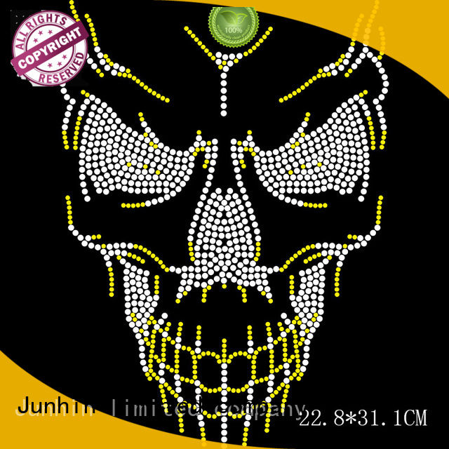 Junhin new rhinestone iron on transfers company for textile