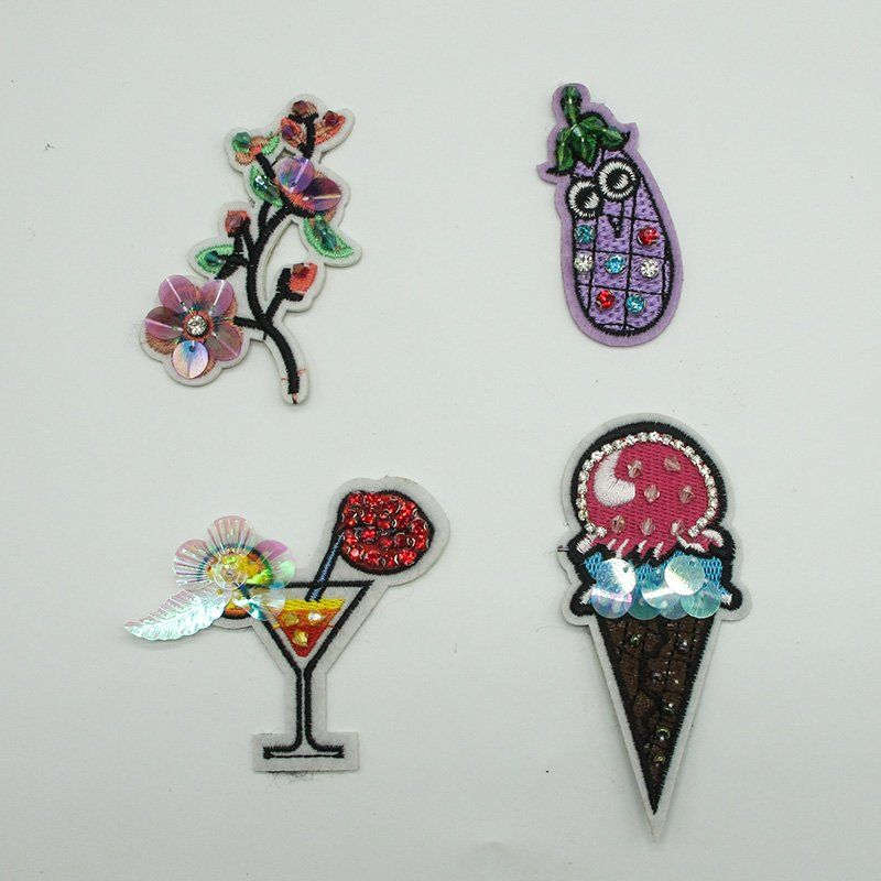 Custom beaded applique handmade crystals flowers embroidery patches sew on clothing accessories