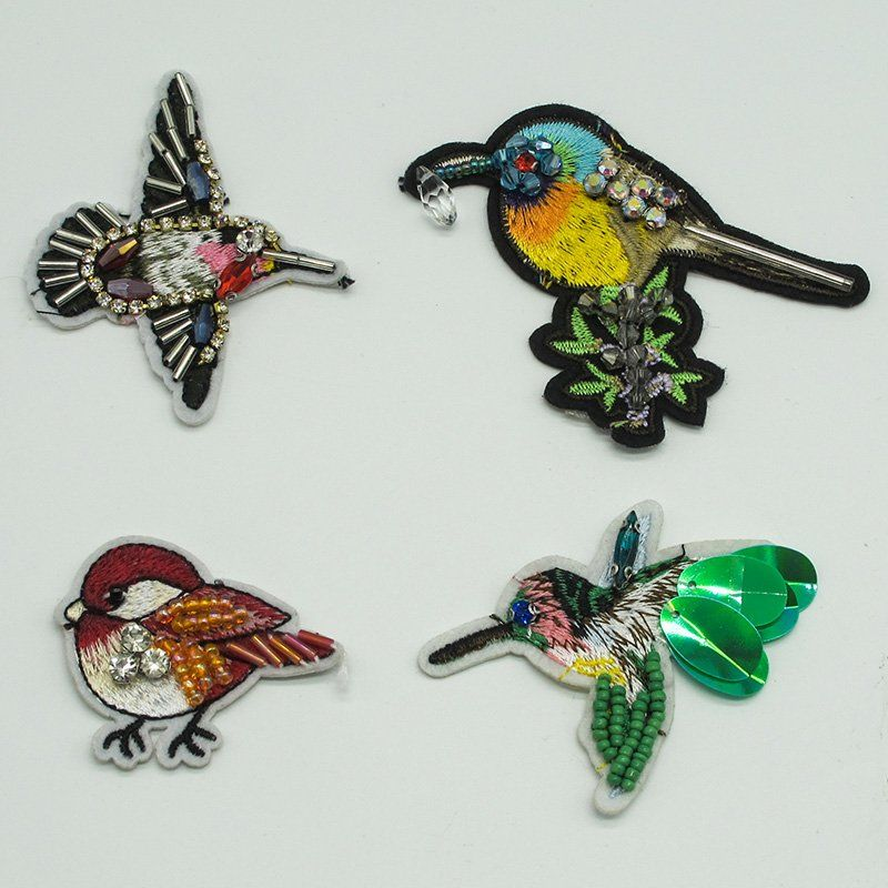 Custom applique bird pattern design 3D pearl embroidery bead sequin fabric sew on patch for jacket