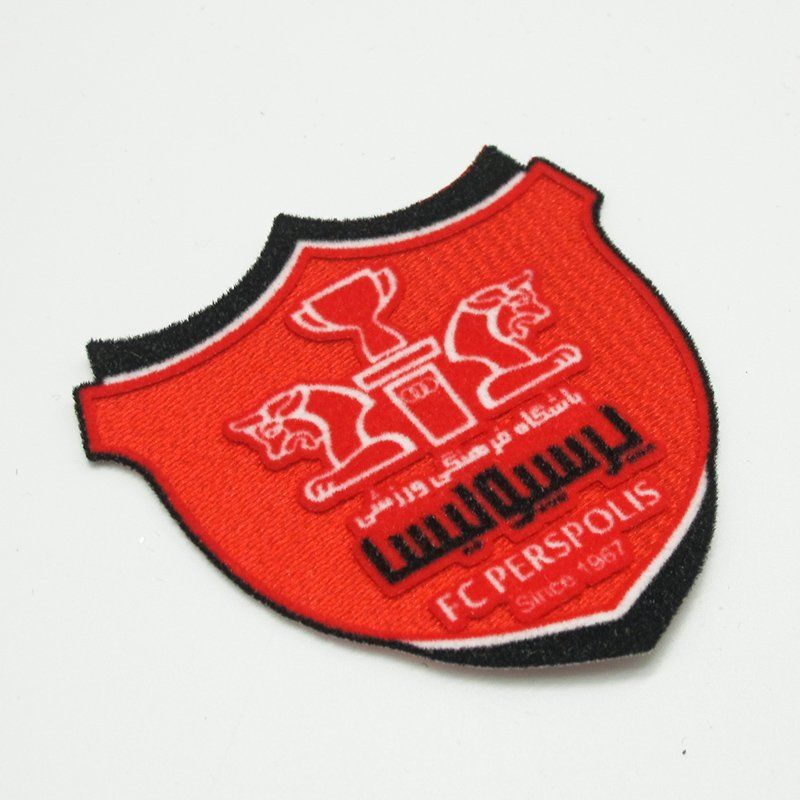 Custom badge shield design zebra iron on flock transfer for garment