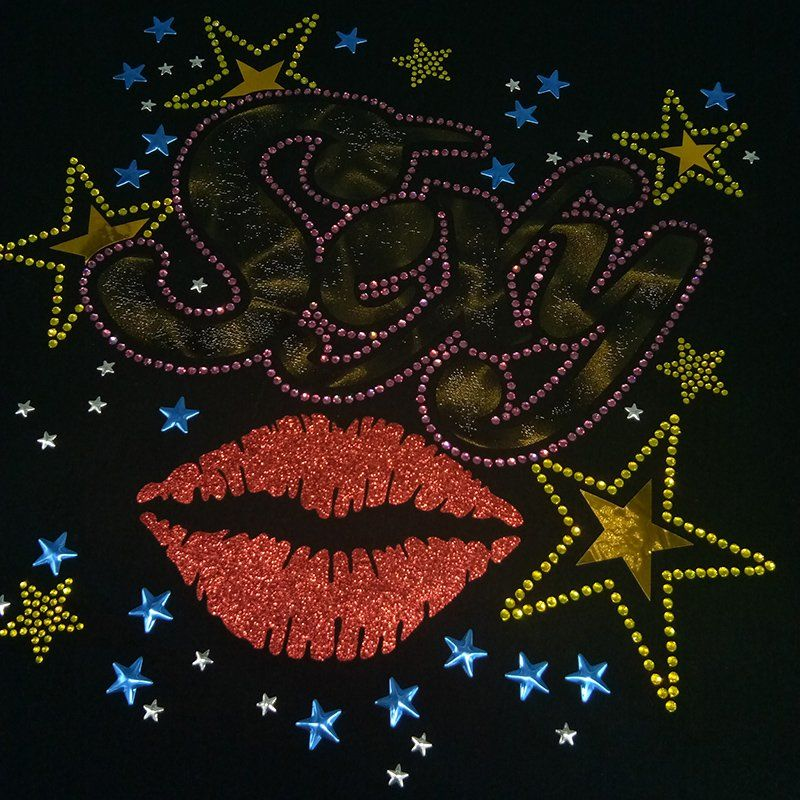 Custom hot fix rhinestone motif with laser foil glitter heat transfer for clothing