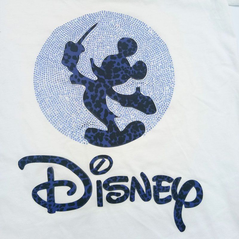 Custom cartoon  disney mickey design hot fix rhinestone motif flock heat transfer for t shirt
