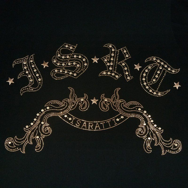 Custom brand logo design swarovski rhinestone heat transfer motif for clothing