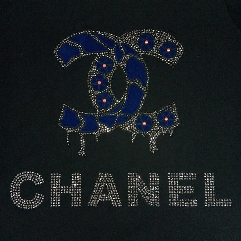 Custom brand name design hot fix pearl and rhinestone motif flock heat transfer for t-shirt
