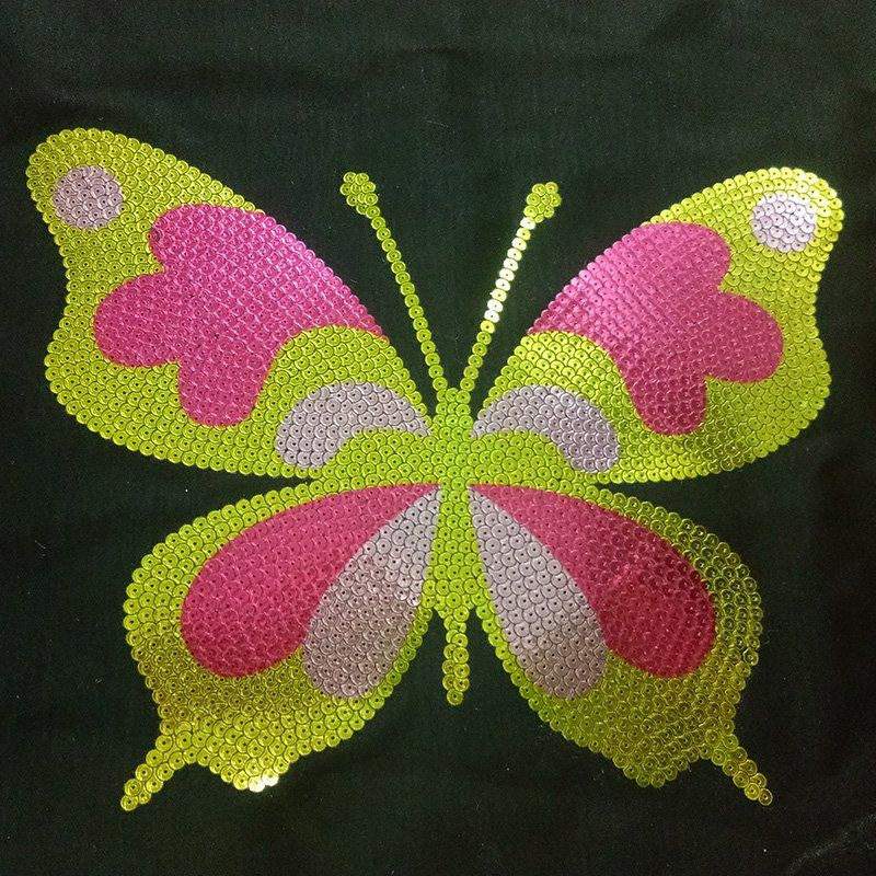 Custom patch design butterfly pattern foil sequin iron on applique wholesale transfer