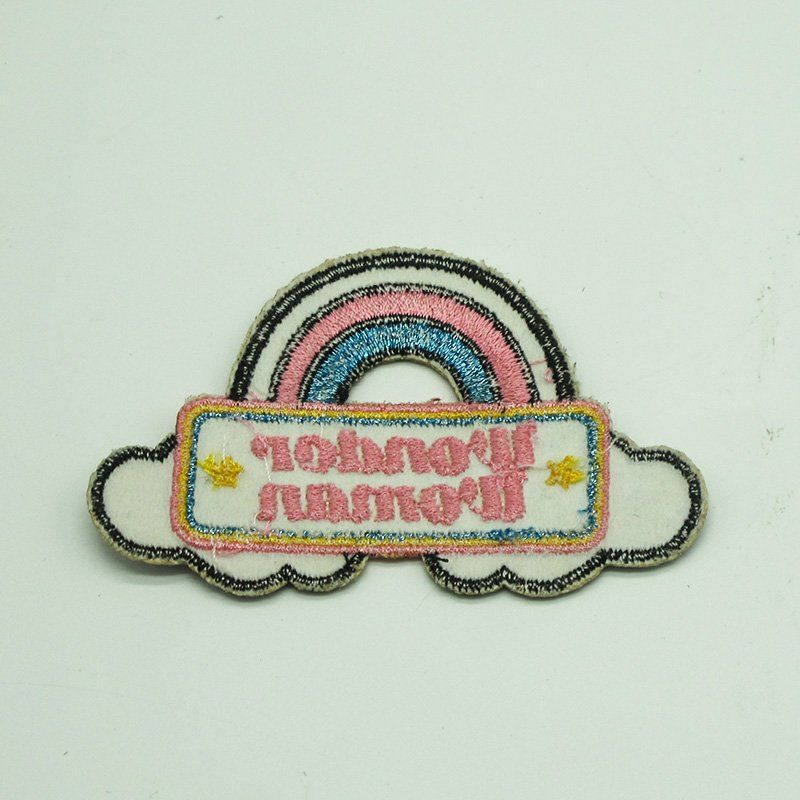 Custom badge design high quality applique glitter embroidery patch for clothing