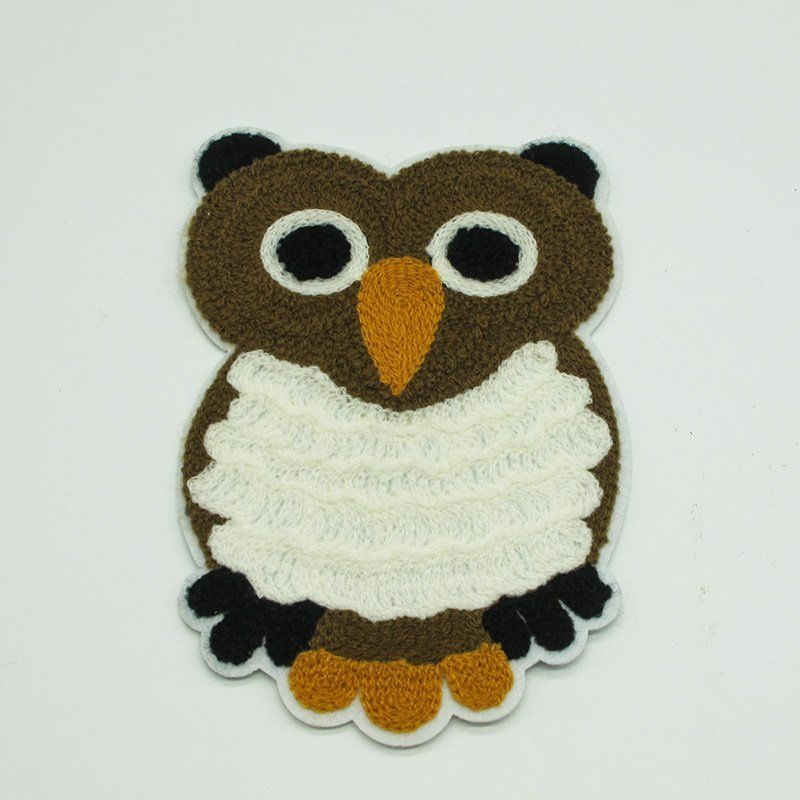 Custom applique design owl pattern 3D embroidery patch for garment
