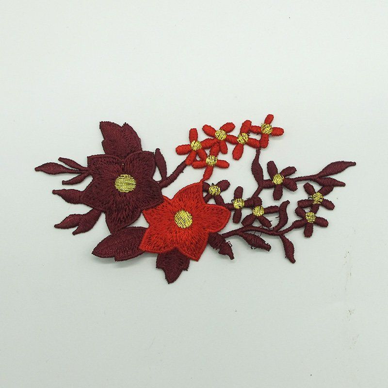Custom applique design flowers pattern embroidery patches iron on clothing