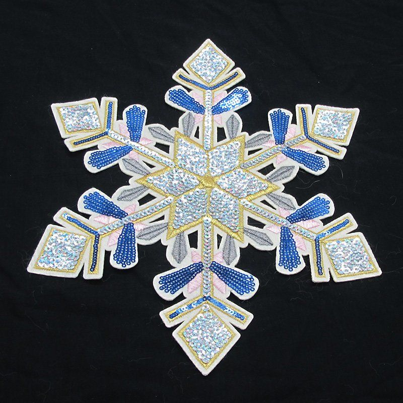 Customized snowflake pattern beads embroidery applique sequin patch for clothing