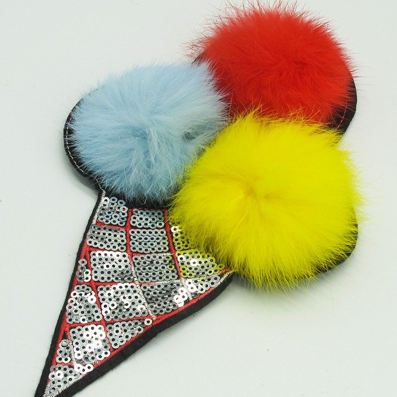 Custom ice cream design embroidery sequin and puffer ball applique patches for clothing