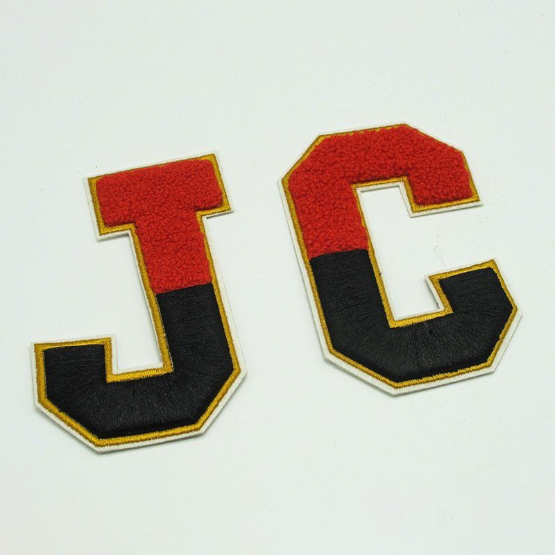 Custom letter pattern iron on flock towel embroidery patch for clothing
