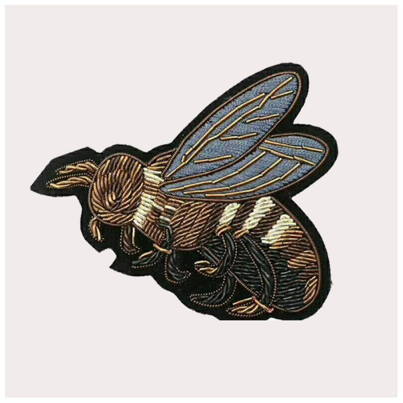 Custom latest design handmade india silk bee pattern embroidered patch for clothing