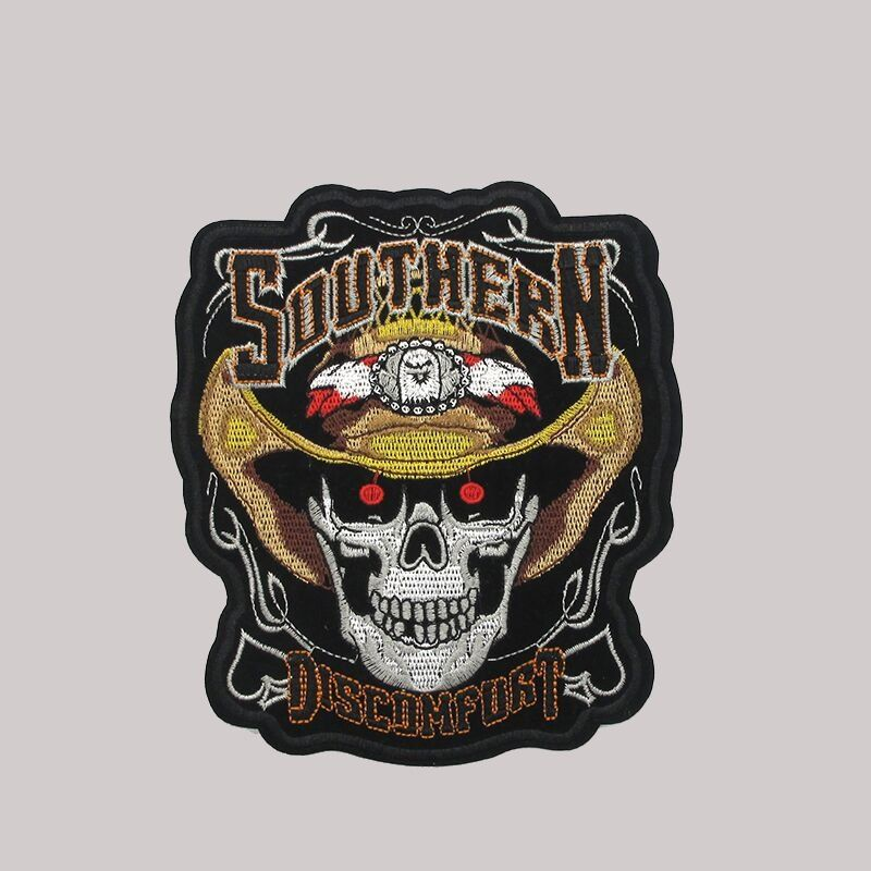 Customized  skull pattern badge embroidery applique patch for jacket