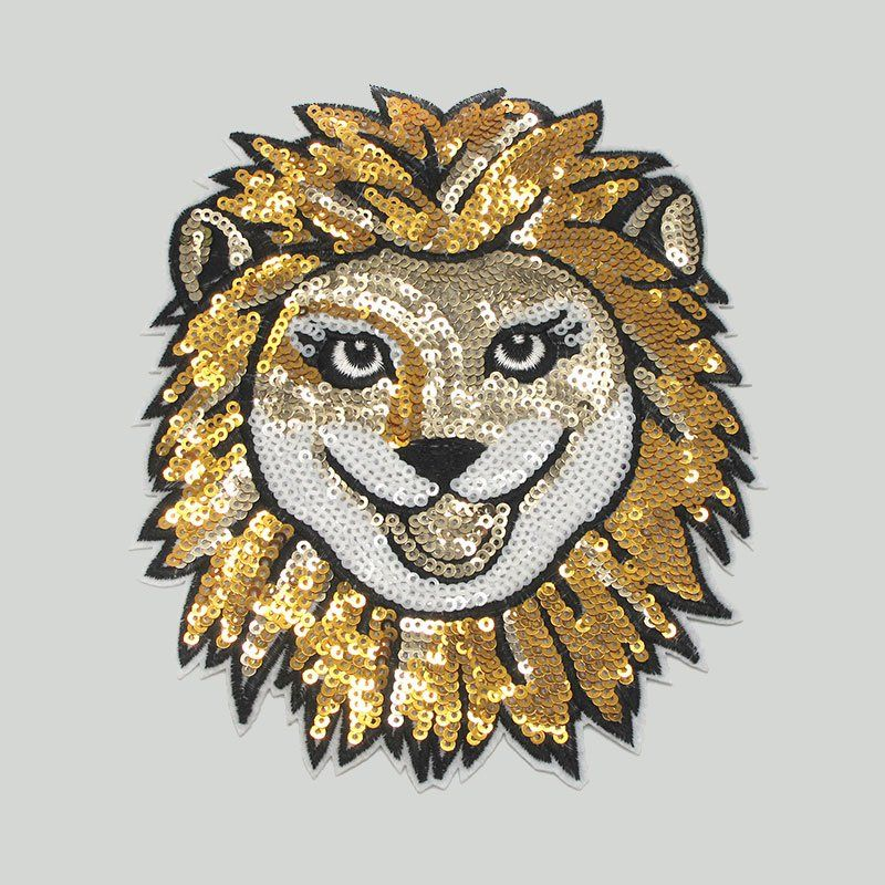Custom patch design lion pattern sequins sew on embroidery badges for clothes
