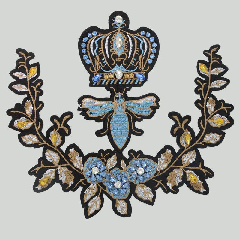 Custom fashion clothing decoration beaded applique embroidery sequin patches