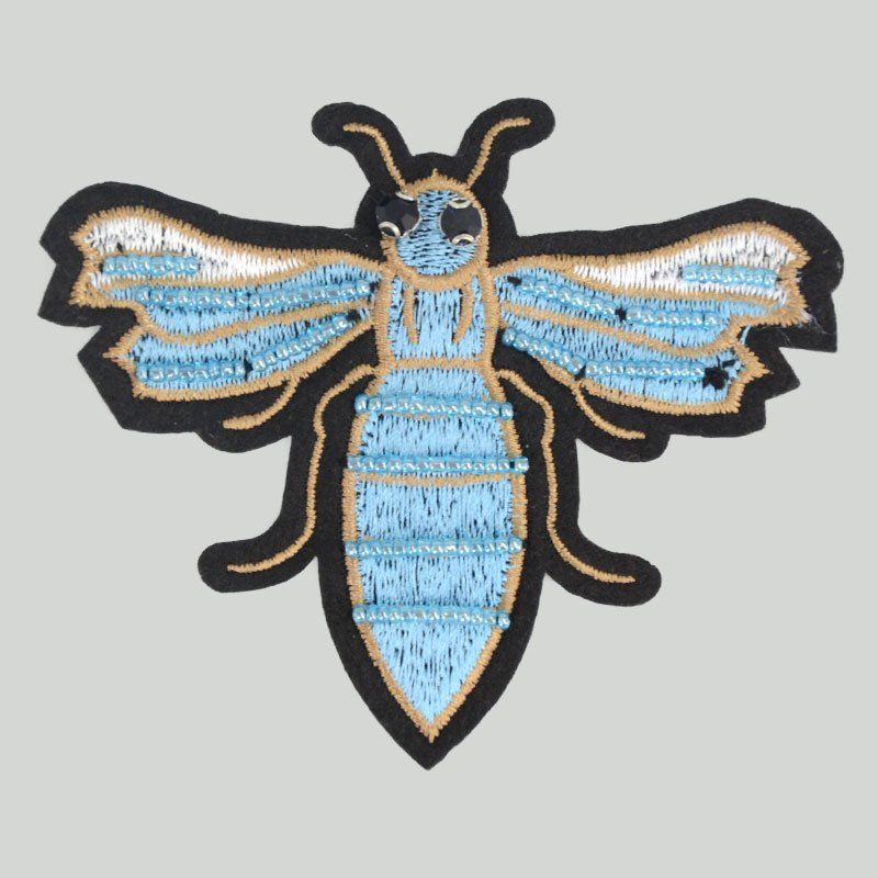 Custom new design bee pattern clothing decoration beads applique embroidery patches